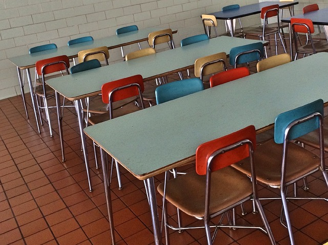 Photos of empty school desks