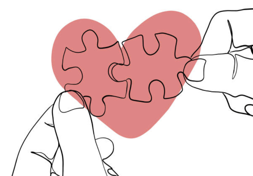 Drawing Puzzle Pieces Heart